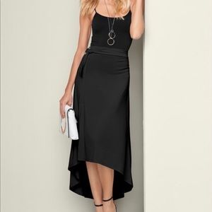 Dresses & Skirts - Plus-Belted high low maxi skirt
